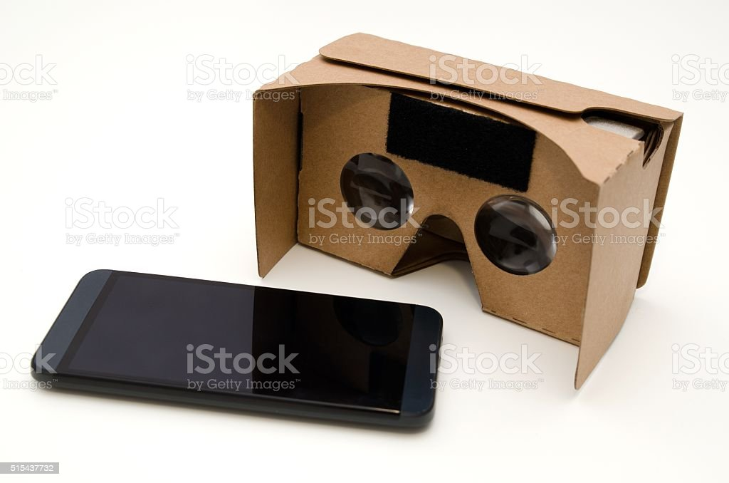 Virtual reality cardboard glasses. Movies in 360 degrees stock photo