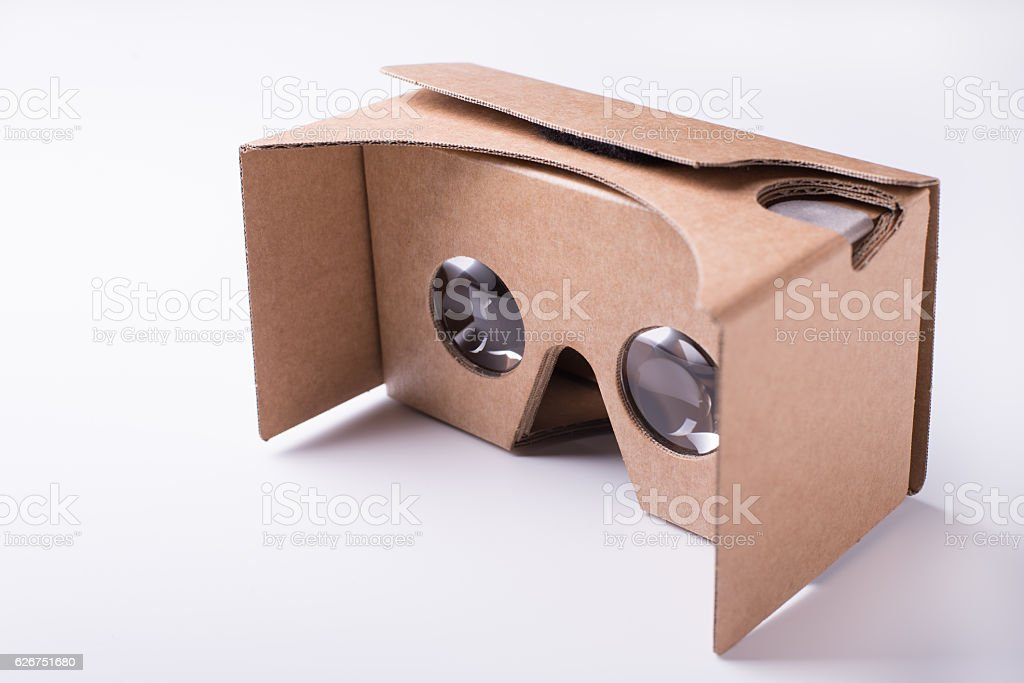 DIY virtual reality cardboard headset over white background stock photo