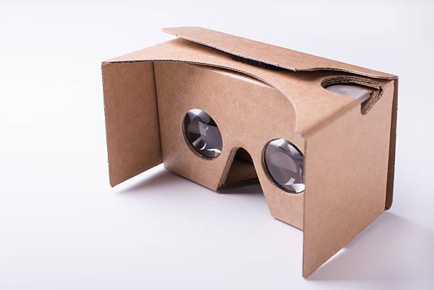 DIY virtual reality cardboard headset over white background stock photo