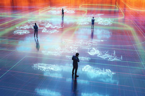 Virtual reality communication stock photo