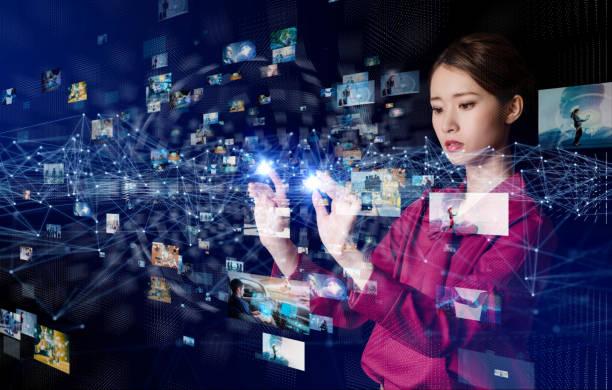 virtual reality concept. - business woman hologram imagens e fotografias de stock