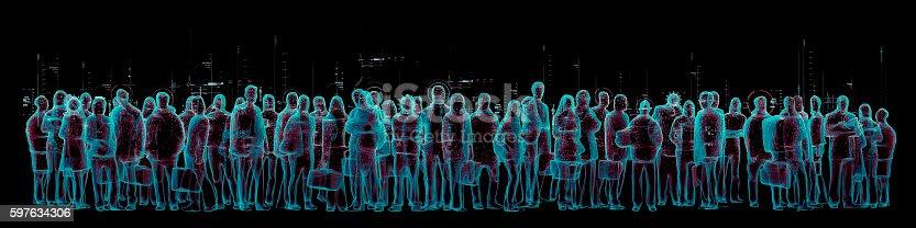 istock Virtual reality crowd panorama 597634306