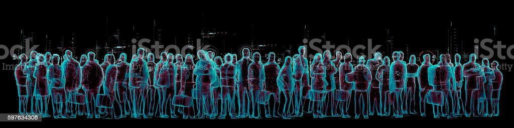 Virtual reality crowd panorama stock photo