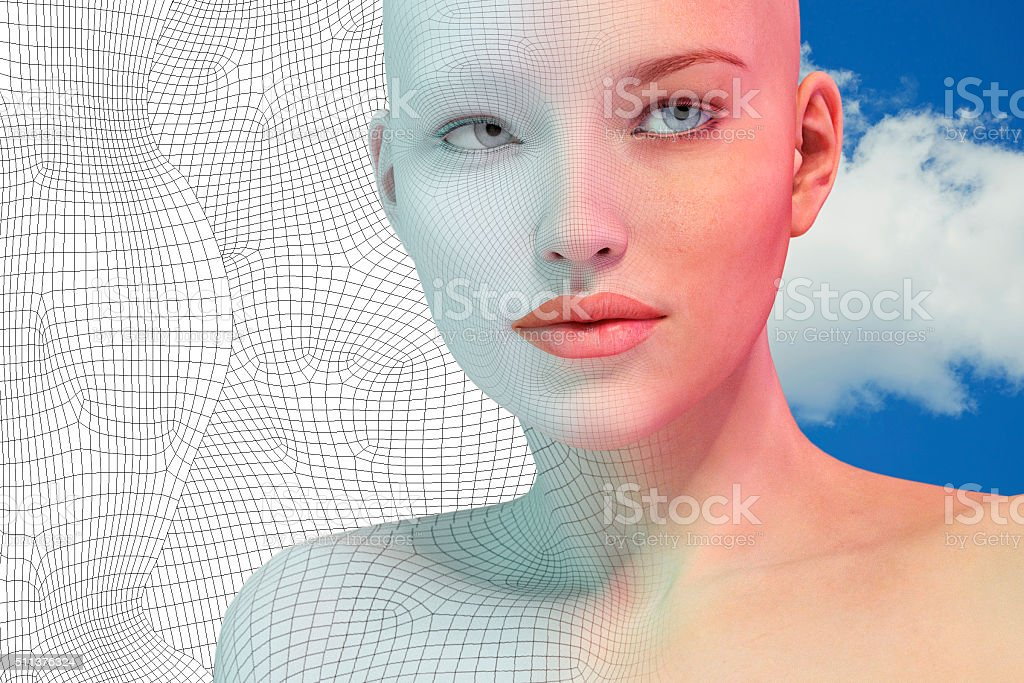 Virtual reality female portrait stock photo