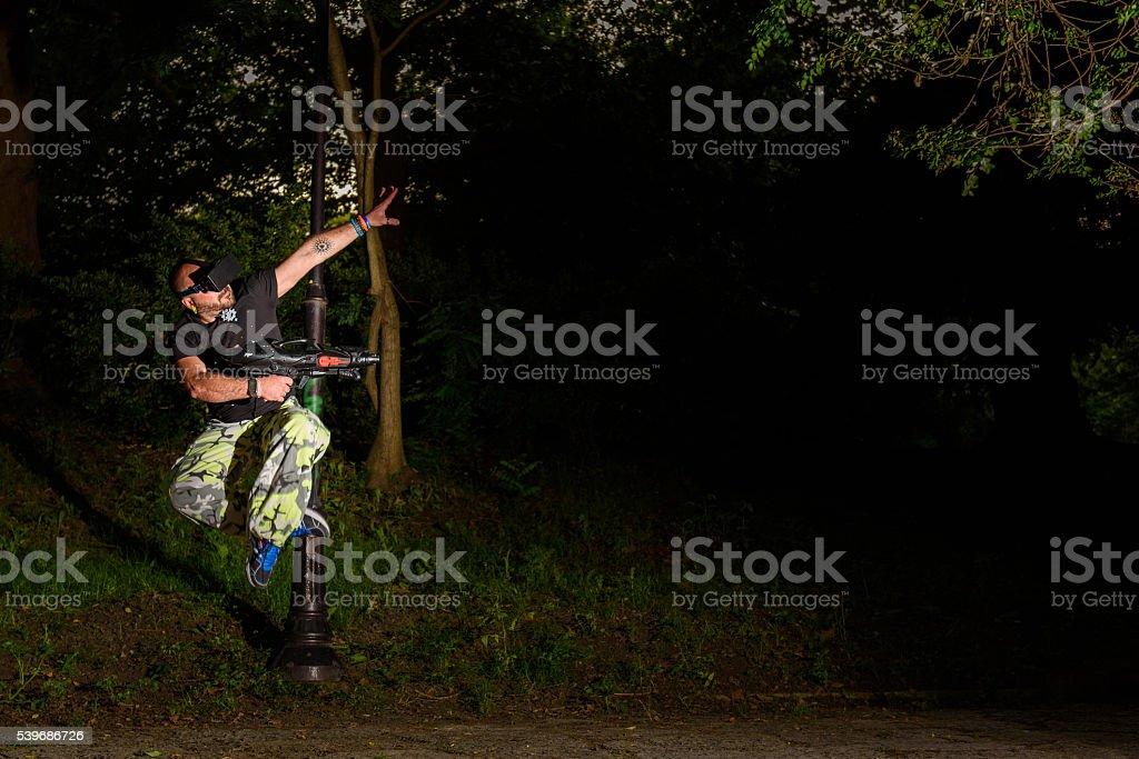 Virtual Reality Gaming - forest shooter stock photo