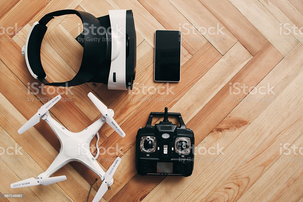 Virtual reality glasses and drone, free space stock photo