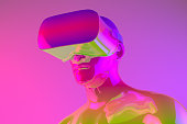 istock Virtual Reality Glasses, Color gradient, neon colors 1129457976