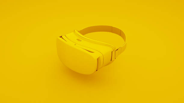 vr virtual reality glasses on yellow background. 3d illustration - man made object stock photos and pictures