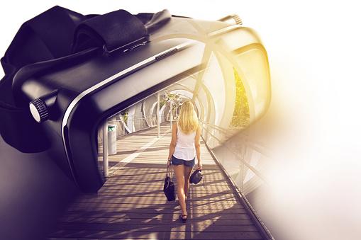 Virtual Reality Glasses With Threedimensional Image Of Woman W Foto de stock y más banco de imágenes de Abstracto
