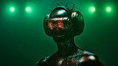 istock Virtual reality goggles and futuristic man 524534682