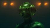 istock Virtual reality goggles and futuristic man 524534720