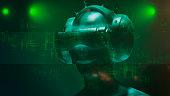 istock Virtual reality goggles and futuristic man 524534736
