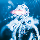 istock Virtual reality goggles and futuristic man 526718926