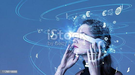 istock Virtual reality goggles concept. 1129519355