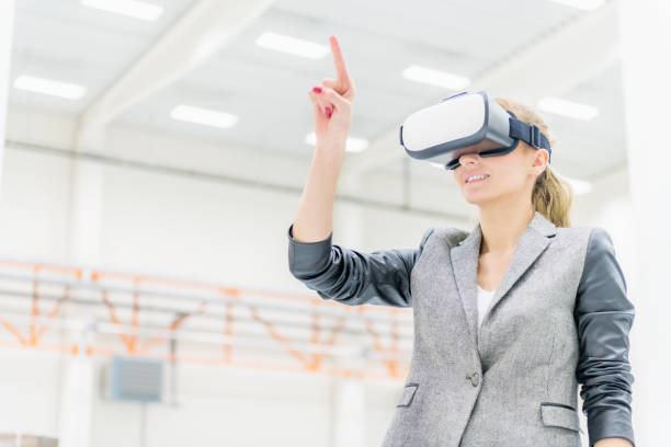 Virtual reality & happy warehouse manager stock photo