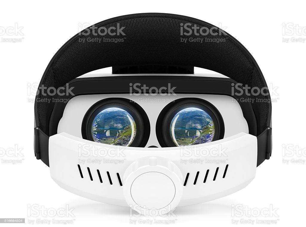 VR virtual reality headset back view on white background stock photo