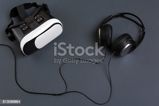 687096686istockphoto Virtual reality headset. Top view 810089864