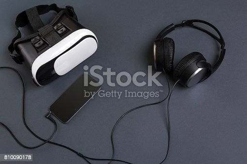 687096686istockphoto Virtual reality headset. Top view 810090178
