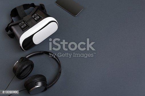 687096686istockphoto Virtual reality headset. Top view 810090990