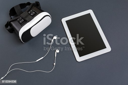 687096686istockphoto Virtual reality headset. Top view 810094536