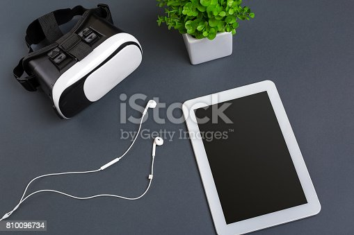 687096686istockphoto Virtual reality headset. Top view 810096734