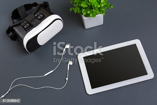 687096686istockphoto Virtual reality headset. Top view 810098842