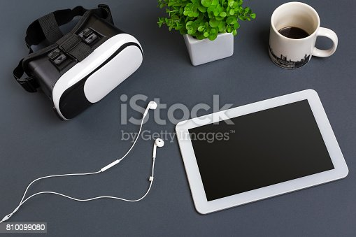 687096686istockphoto Virtual reality headset. Top view 810099080