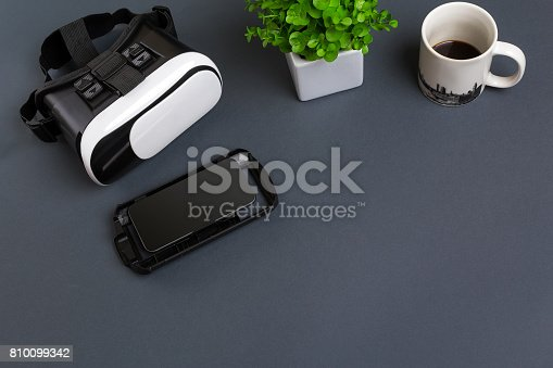 687096686istockphoto Virtual reality headset. Top view 810099342