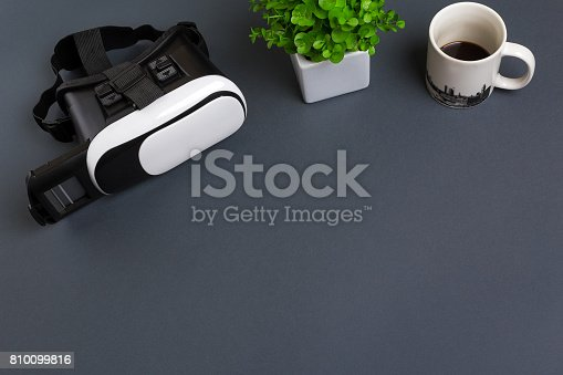 687096686istockphoto Virtual reality headset. Top view 810099816