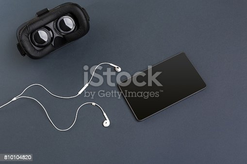687096686istockphoto Virtual reality headset. Top view 810104820