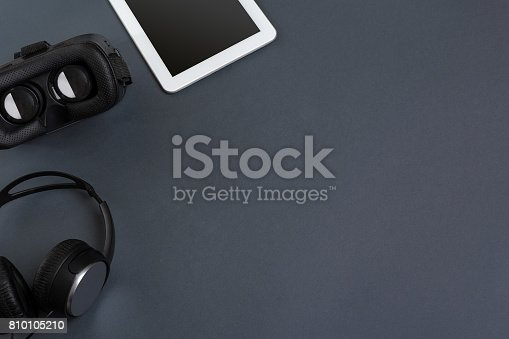 687096686istockphoto Virtual reality headset. Top view 810105210