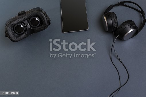 687096686istockphoto Virtual reality headset. Top view 810105694