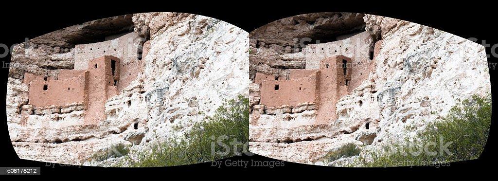 VR virtual reality headset view of Montezuma's Castle, Arizona stock photo