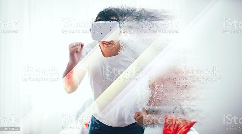 Virtual reality jogging stock photo