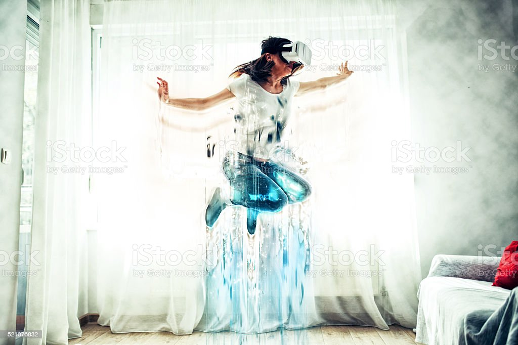 Virtual reality jumping stock photo