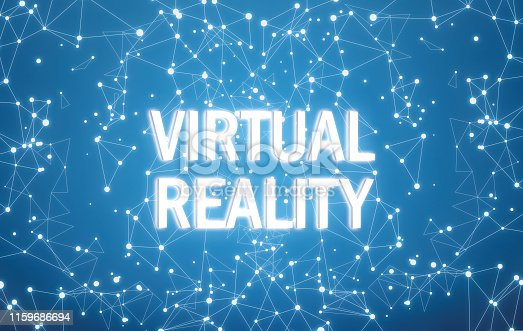 istock Virtual reality on digital interface and blue network background 1159686694