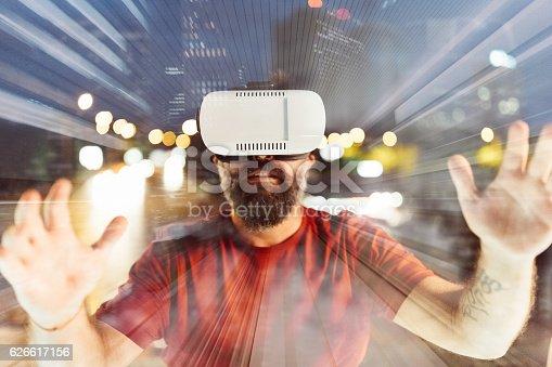istock Virtual reality simulator 626617156