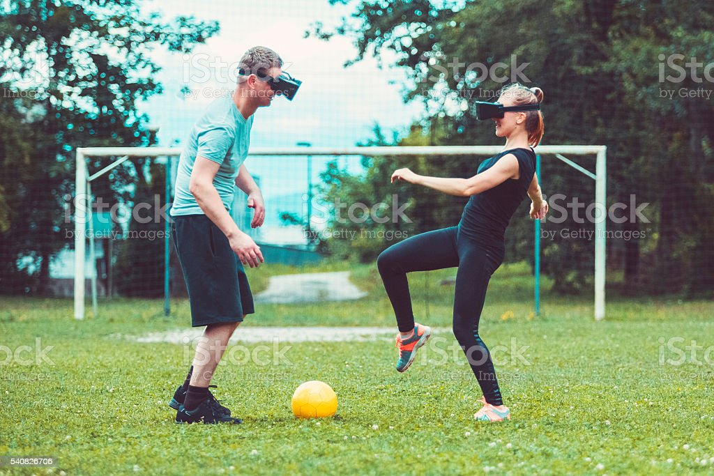 Virtual Reality Soccer Game Stock Photo - Download Image Now - iStock