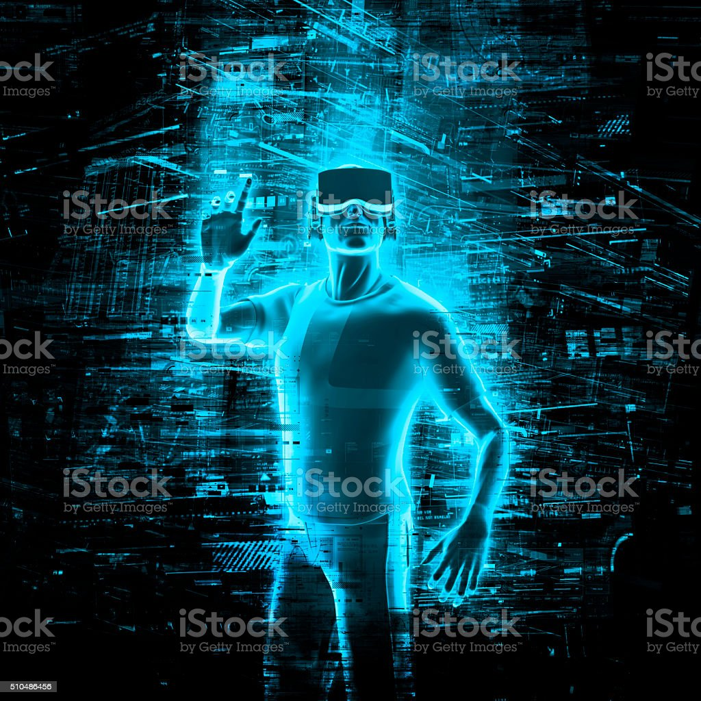 Virtual reality user stock photo