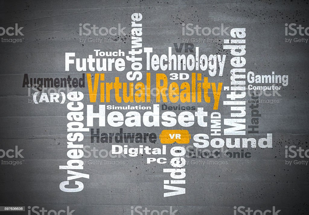 Virtual reality word cloud concept stock photo