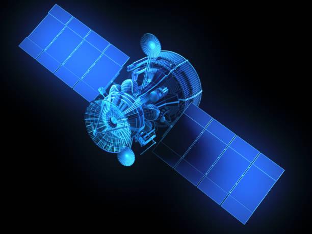 virtual satellite - wireframe solar power imagens e fotografias de stock
