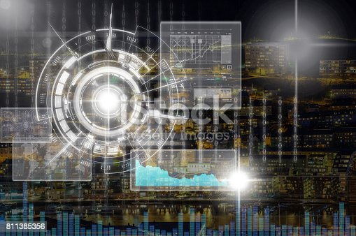 istock Virtual screen and digital cyber over the city at night background, Elements of this image furnished by NASA, Business and technology concept 811385356
