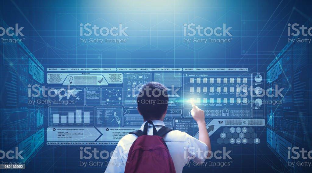 Virtual Screen Hologram Technology stock photo