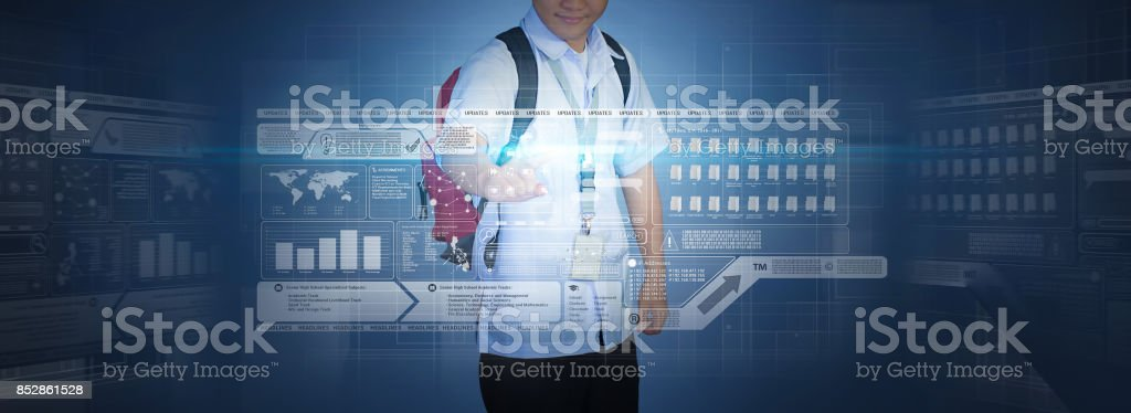 Virtual Screen Hologram Technology stock photo