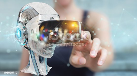 851956150 istock photo virtual simulation mask on digital blue background 3D rendering 1196095710