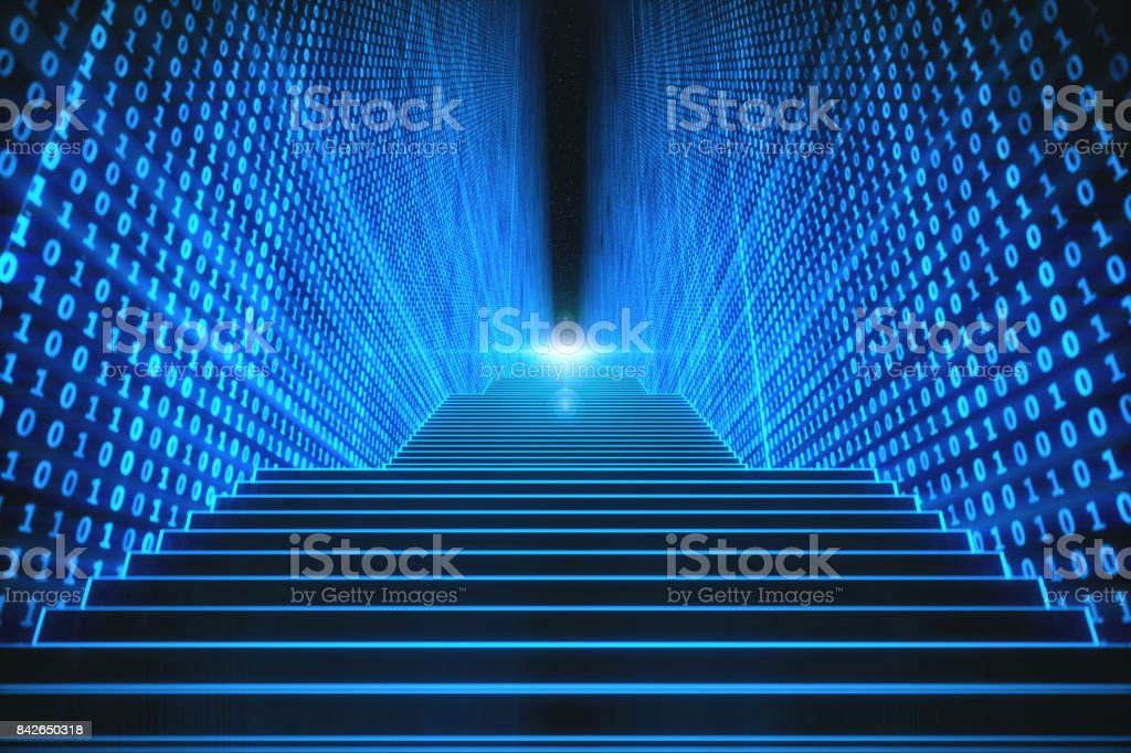 Virtual Stairs In Computer Space stock photo