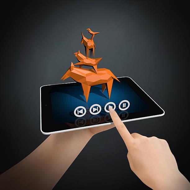 virtuelle geschichte auf neue erstellung der tablet pc - die brüder grimm stock-fotos und bilder