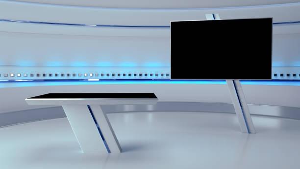 テレビ仮想スタジオの背景3d イラスト - スタジオ撮影 ストックフォトと画像