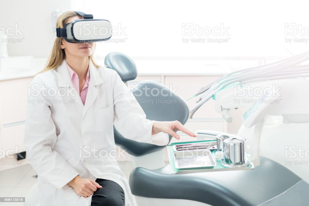 Virtual technologies in dental medicine stock photo
