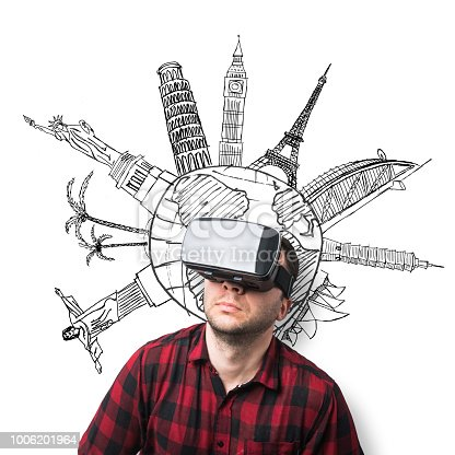 Man wearing virtual reality headset in front of globe and famous buildings and places around the world drawn with black ink on white background